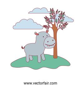 hippopotamus cartoon in forest next to the trees in colorful silhouette with thin contour