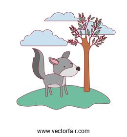 wolf cartoon in forest next to the trees in colorful silhouette with thin contour