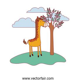 giraffe cartoon in forest next to the trees in colorful silhouette with thin contour