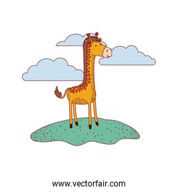 giraffe cartoon in outdoor scene with clouds on colorful silhouette with thin contour