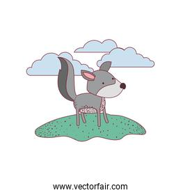 wolf cartoon in outdoor scene with clouds on colorful silhouette with thin contour