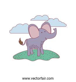 elephant cartoon in outdoor scene with clouds on colorful silhouette with thin contour