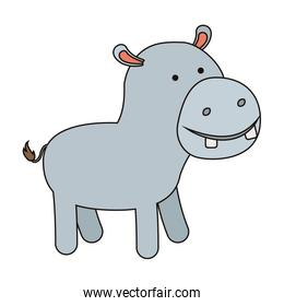 hippopotamus cartoon colorful silhouette in white background with thin contour