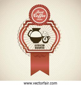 illustration of coffee icon in label isolated on beige backgroun