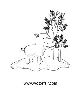 hippopotamus cartoon in forest next to the trees in monochrome silhouette
