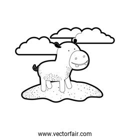hippopotamus cartoon in outdoor scene with clouds in black silhouette with thick contour
