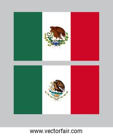 mexico colorful flags in grey background