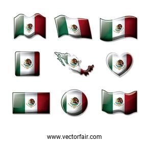 mexico 3D flags collection colorful silhouettes in many forms