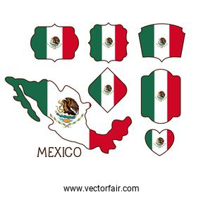 mexico poster with map and insignia templates with mexican flags in colorful silhouette