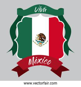 viva mexico insignia flag with decorative ribbon in colorful silhouette