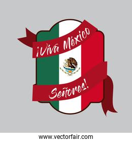 viva mexico insignia flag with decorative ribbon around in colorful silhouette