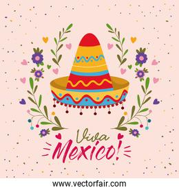 viva mexico colorful poster with mexican hat