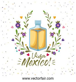 viva mexico colorful poster with tequila bottle