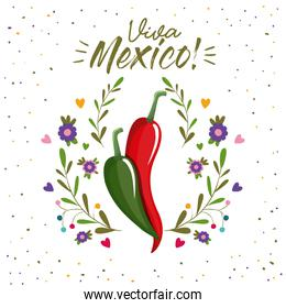 viva mexico colorful poster with chili peppers