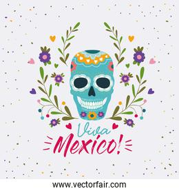 viva mexico colorful poster with decorative skull mask