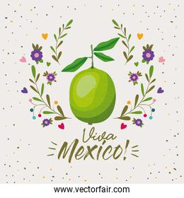 viva mexico colorful poster with lemon fruit