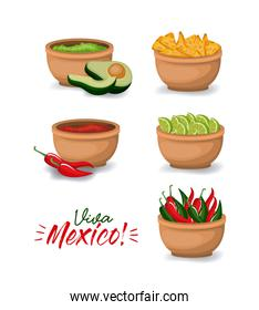 viva mexico colorful poster with bowls of typical mexican food