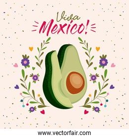 viva mexico colorful poster with middle avocado and slice