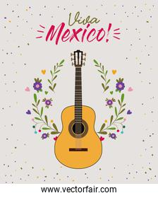 viva mexico colorful poster with guitar in closeup