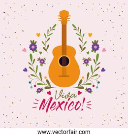 viva mexico colorful poster with acoustic guitar