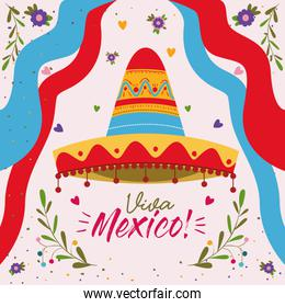 viva mexico colorful poster with mexican hat and decorative ribbons