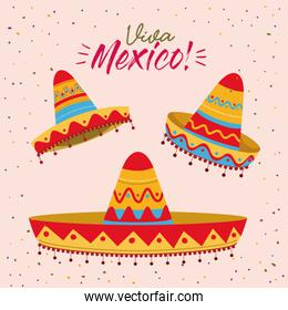 viva mexico colorful poster with set of mexican hats