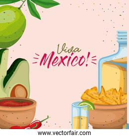 viva mexico colorful poster of mexican traditional drinks and foods