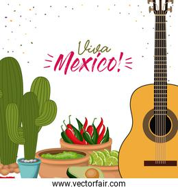viva mexico colorful poster with guitar and cactus plant and mexican foods chili guacamole avocado