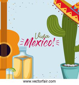 viva mexico colorful poster with guitar and cactus plant and tequila bottle