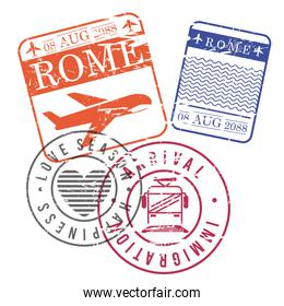 airplane and train travel stamps of rome in colorful silhouette