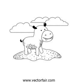 hippopotamus cartoon in outdoor scene with clouds in black dotted silhouette