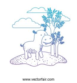 hippopotamus cartoon in outdoor scene with trees and clouds in degraded blue to purple color silhouette