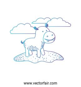 hippopotamus cartoon in outdoor scene with clouds in degraded blue to purple color silhouette