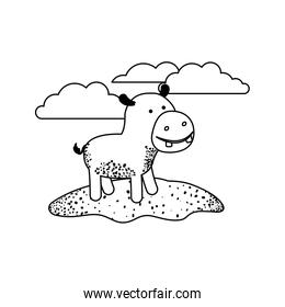 hippopotamus cartoon in outdoor scene with clouds in black sections silhouette