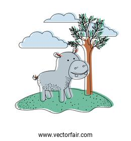 hippopotamus cartoon in outdoor scene with trees and clouds in watercolor silhouette