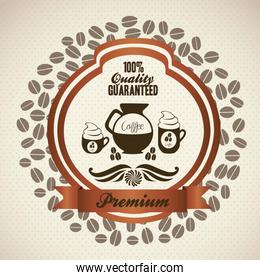 illustration of coffee icon label isolated on beige background v