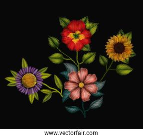 colorful flowers set plant embroidery in black background