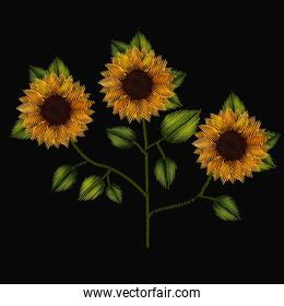 colorful sunflowers plant set embroidery in black background
