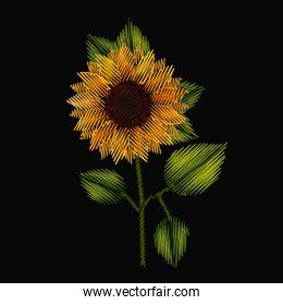 colorful sunflower plant embroidery in black background