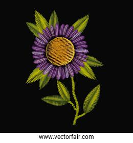 colorful purple daisy flower plant embroidery in black background