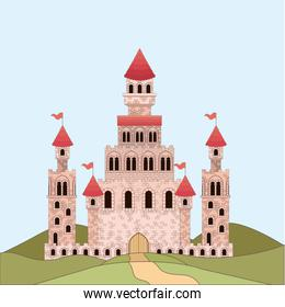 landscape with princesses castle in colorful silhouette