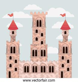 pink castle closeup of fairy tales with colorful sky background