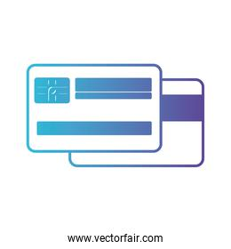 credit card both sides in degraded blue to purple color contour