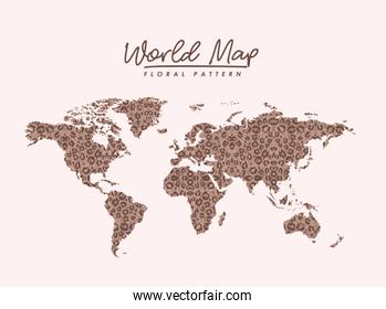 world map floral pattern stains on light pink background