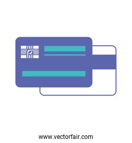 credit card both sides in blue and purple color sections silhouette