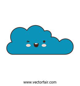 kawaii cloud icon flat in colorful silhouette