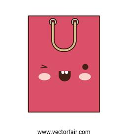 square kawaii shopping bag icon with handle in colorful silhouette