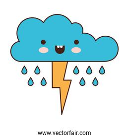 kawaii cloud with rain and thunderbolt in colorful silhouette