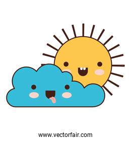 kawaii cloud and sun in colorful silhouette