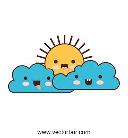 kawaii cloud cumulus and sun in colorful silhouette